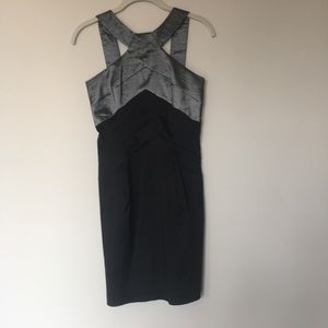 Jessica McClintock Metallic Grey and Black Dress